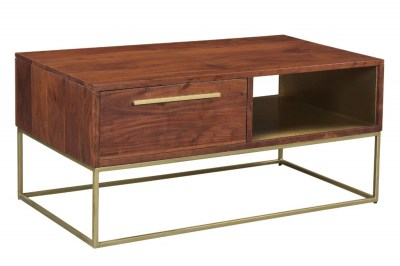Dizajnový konferenčný stolík Malakai 110 cm prírodná akácia - zlatý