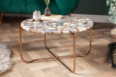 Dizajnový konferenčný stolík Tristen 62 cm achát modrý