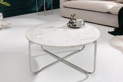 Dizajnový konferenčný stolík Tristen 62 cm mramor biely