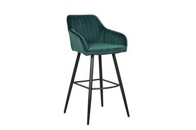 Dizajnová barová stolička Esmeralda smaragdový zamat