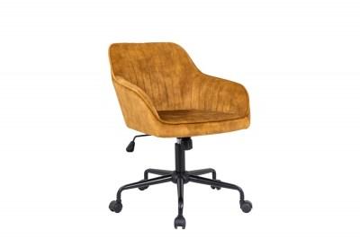 Dizajnová kancelárska stolička Esmeralda horčicový zamat