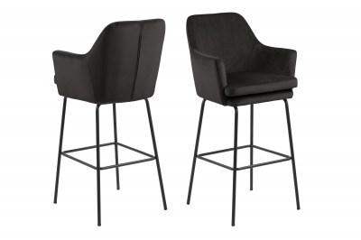 Elegantná barová stolička Aleix, sivá / hnedá