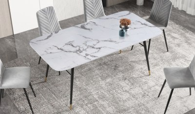 Jedálenský stôl Laney 180 cm mramor biely