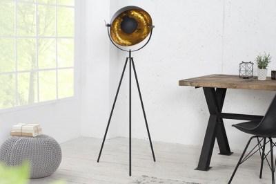 Dizajnová stojanová lampa STAGE čierno zlatá 140cm