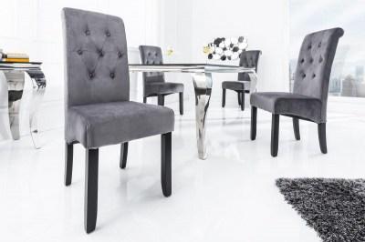 Dizajnová stolička Clemente s podhlavníkom sivá