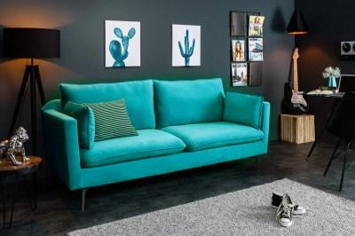 Dizajnová trojsedačka Lena, 210cm, modro-zelený zamat
