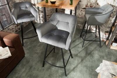 Dizajnová barová stolička Giuliana, strieborný zamat
