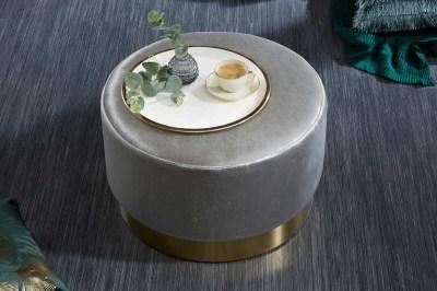 Dizajnová taburetka Alejandra 55 cm, strieborná/zlatá