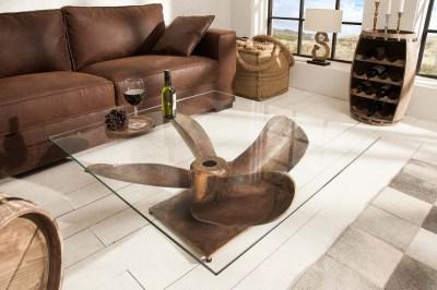 Dizajnový konferenčný stolík Propeller, 85 cm, antik medený