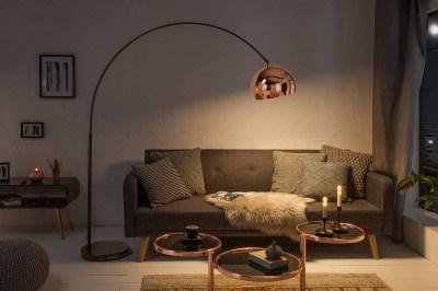 Dizajnová stojanová lampa Arch, zlatoružová