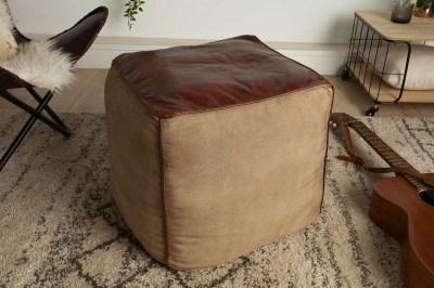 Dizajnová kožená taburetka Derrick, hnedá