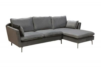 Dizajnová rohová sedačka Lena, strieborný zamat