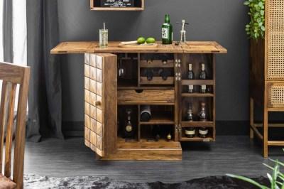 Dizajnová barová skrinka Motley, 130 cm, sheesham
