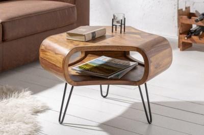 Dizajnový konferenčný stolík Lorelei, 60 cm, sheesham