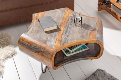 Dizajnový konferenčný stolík Lorelei, 70 cm, sheesham, sivý