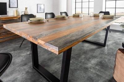 Dizajnový jedálenský stôl Flame, 160 cm, sheesham sivý