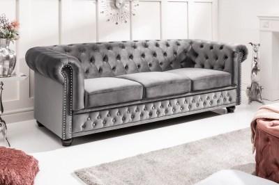 Dizajnová trojsedačka Chesterfield 205 cm sivá