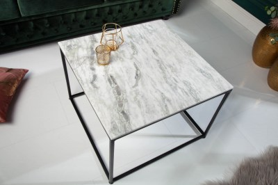 Dizajnový konferenčný stolík Factor 50 cm mramor biely