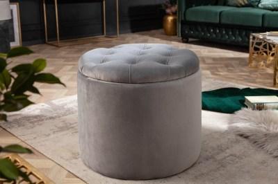 Dizajnová taburetka Aamira 50 cm strieborná