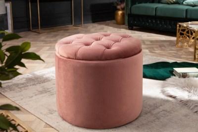 Dizajnová taburetka Rococo 50 cm staroružová