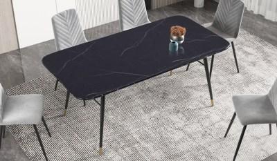 Jedálenský stôl Laney 180 cm mramor čierny