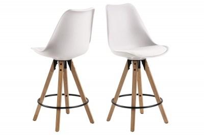Moderná dizajnová barová stolička Nascha, biela-prírodná