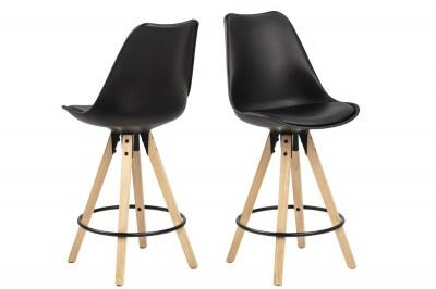 Moderná dizajnová barová stolička Nascha, čierna-prírodná