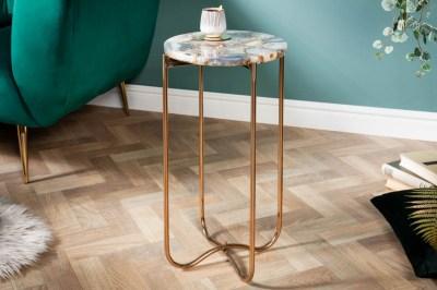 Odkladací stolík Tristen I 35 cm achát modrý