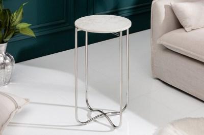 Odkladací stolík Tristen I 35 cm mramor biely