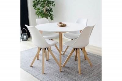 Okrúhly jedálenský stôl Carmen prírodný / biely