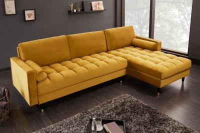 Rohová sedačka Adan II 260 cm horčicovožltý zamat