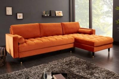 Rohová sedačka Adan II 260 cm hrdzavohnedý zamat