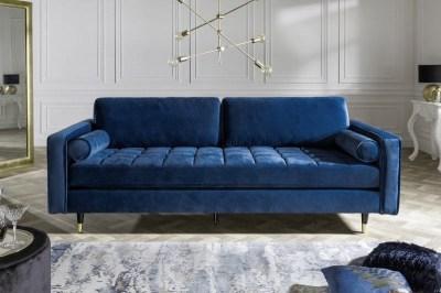 Dizajnová sedačka Adan, 225 cm, modrý zamat