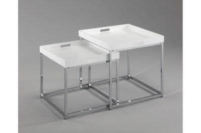 Set odkladacích stolíkov s táckou Factor, biely, 2 ks