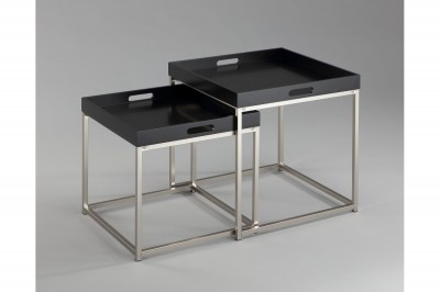 Set odkladacích stolíkov s táckou Factor, čierny, 2 ks