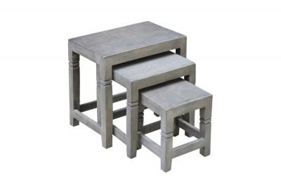 Set 3 odkladacích stolíkov Harlow 45 cm sivá akácia