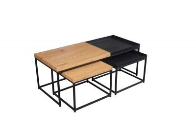 Set konferenčných stolíkov Giuliana 3 ks vzor dub - čierny