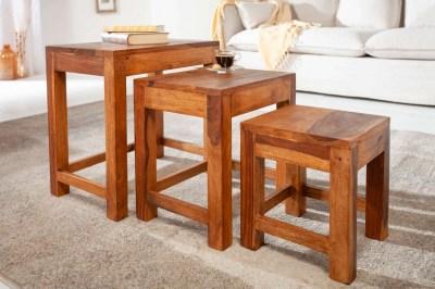Set odkladacích stolíkov Freddo 45 cm sheesham 3 ks