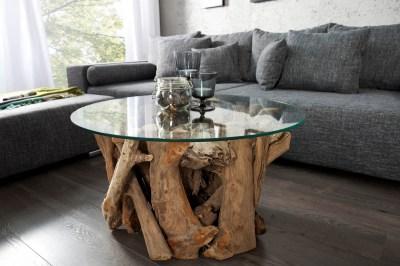 Štýlový konferenčný stolík Trim 50 cm teak - sklo