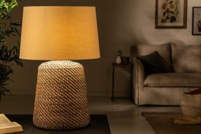 Ratanová stolná lampa Terrell 82 cm sivá - béžová