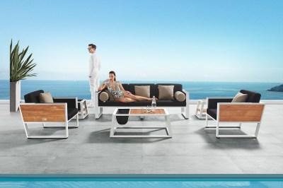 Záhradná zostava HIGOLD II - York Lounge White/Black Olefin